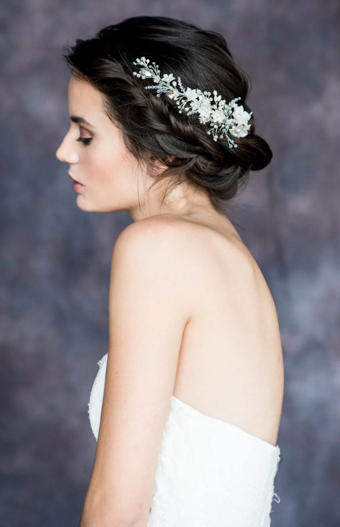 rosario crystal & pearl floral vine hair comb (more colours)