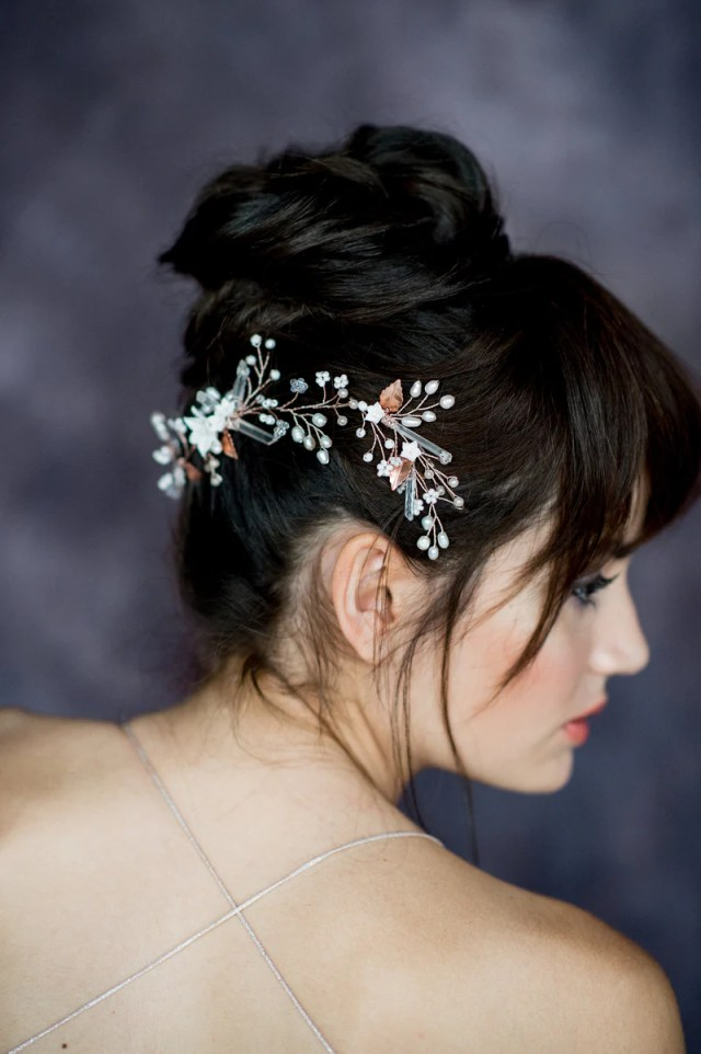 raeka modern quartz floral bridal hair vine (more colours & lengths)