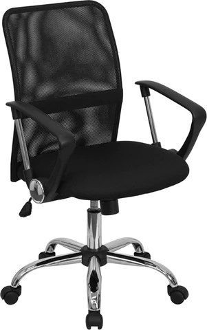 black computer chair vinyl posture task mid back mesh with chrome finished base go 6057