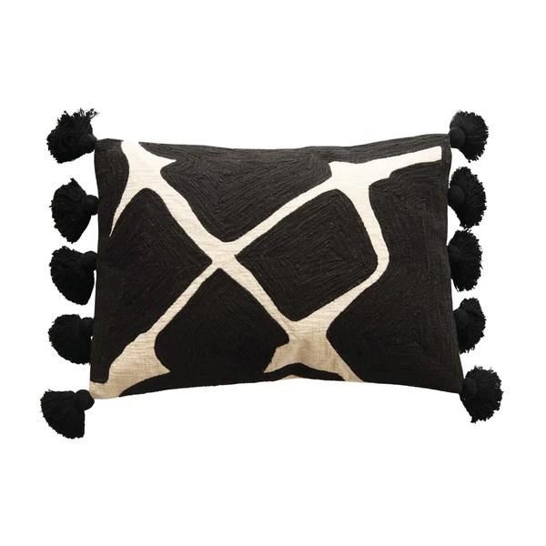 black white embroidered lumbar pillow