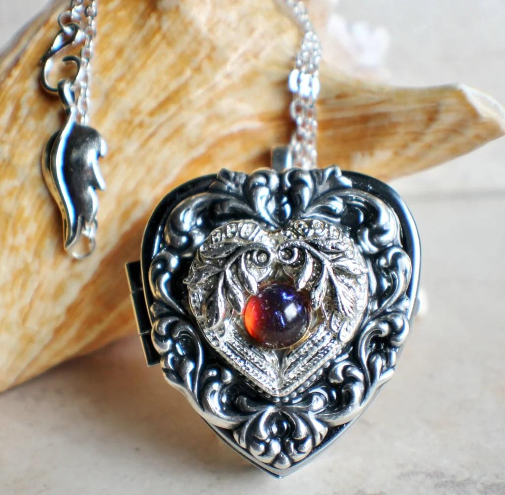silver angel wing locket