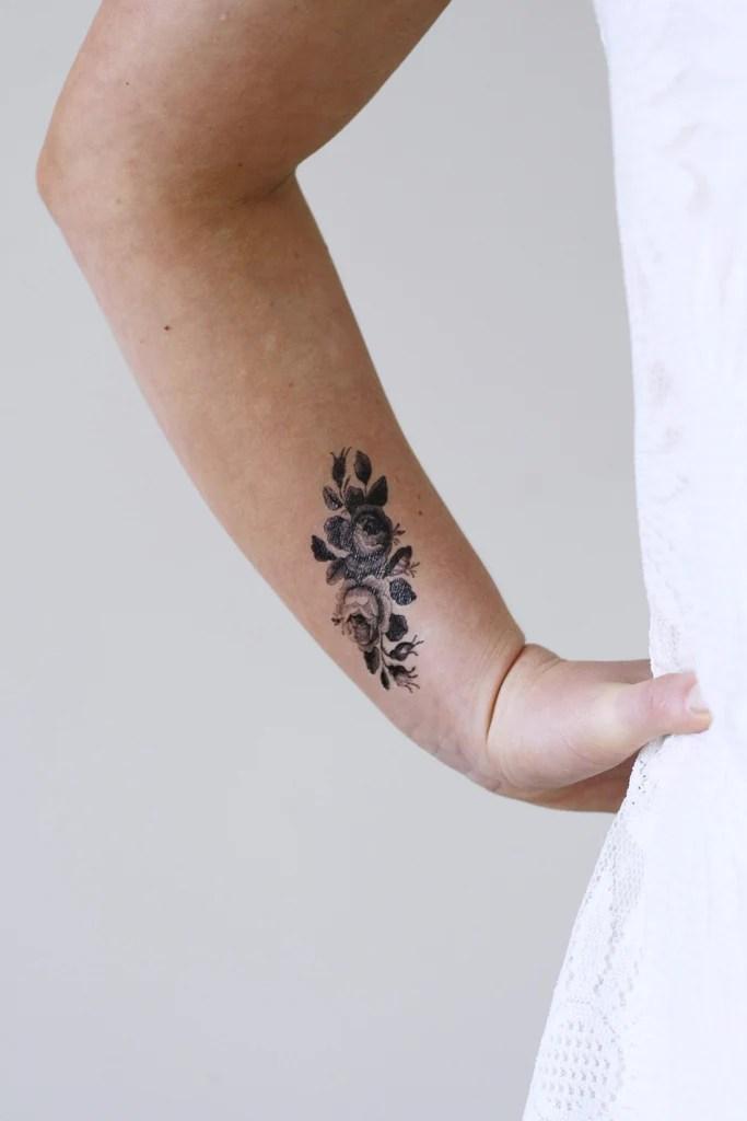 small roses temporary tattoo