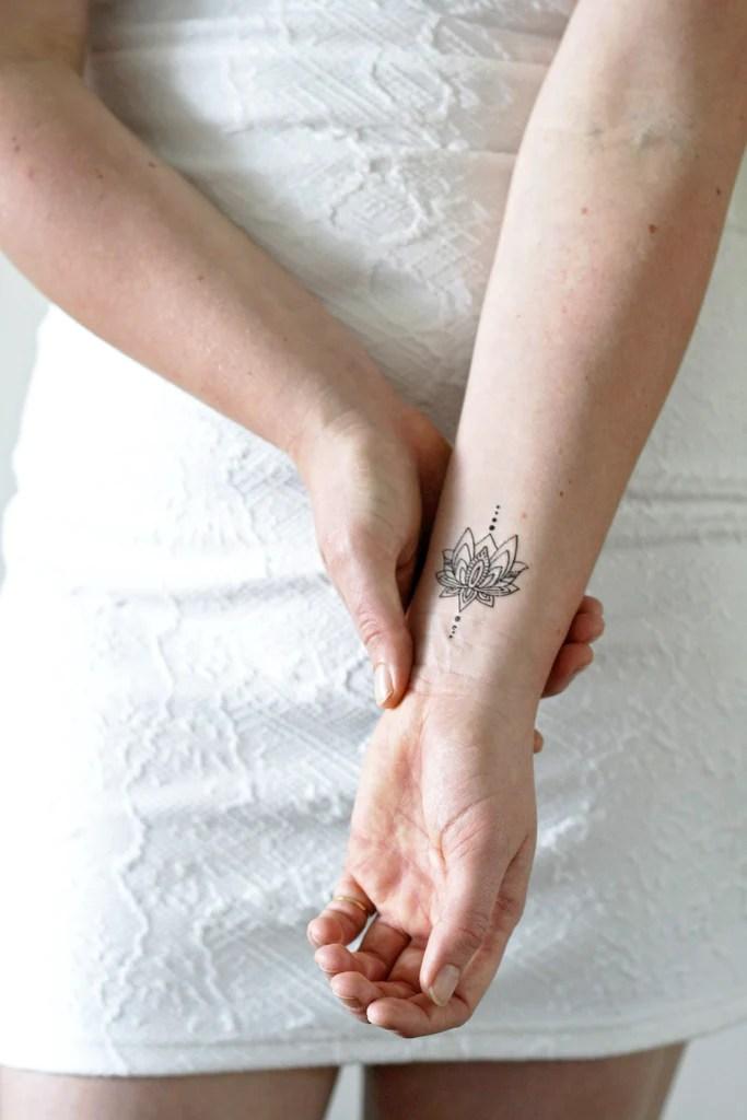 small lotus temporary tattoo