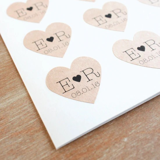 Kraft Heart with Initials Favor Label
