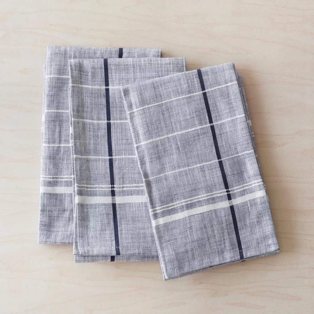 kitchen towels anti fatigue mat onam blue navy modern handmade in india set of 3