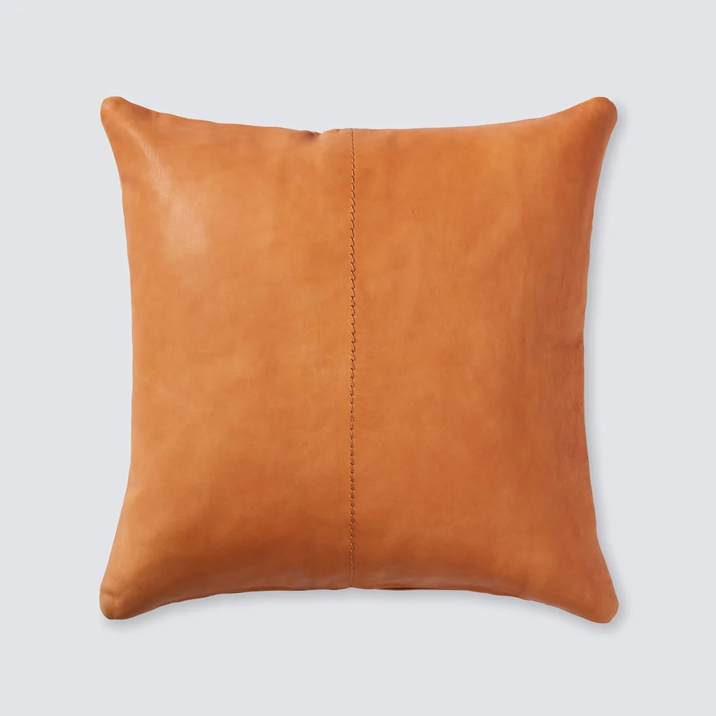 Cognac Leather Throw Pillow Ethically Crafted in