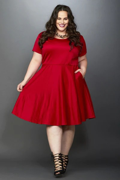Plus Size Clothing for Women - Solid Skater Dress - Red - Society+ - Society Plus - Buy Online Now! - 1