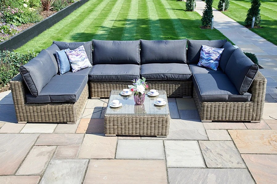 Summer is the time to eat outside, spend time in the backyard with friends and family and enjoy the best of the weather. 7 Piece Mayfair Modular Rattan Garden Furniture Set T Bridgman