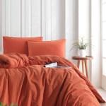 Stonewashed Cotton Duvet Cover Set Burnt Orange Soundsleep