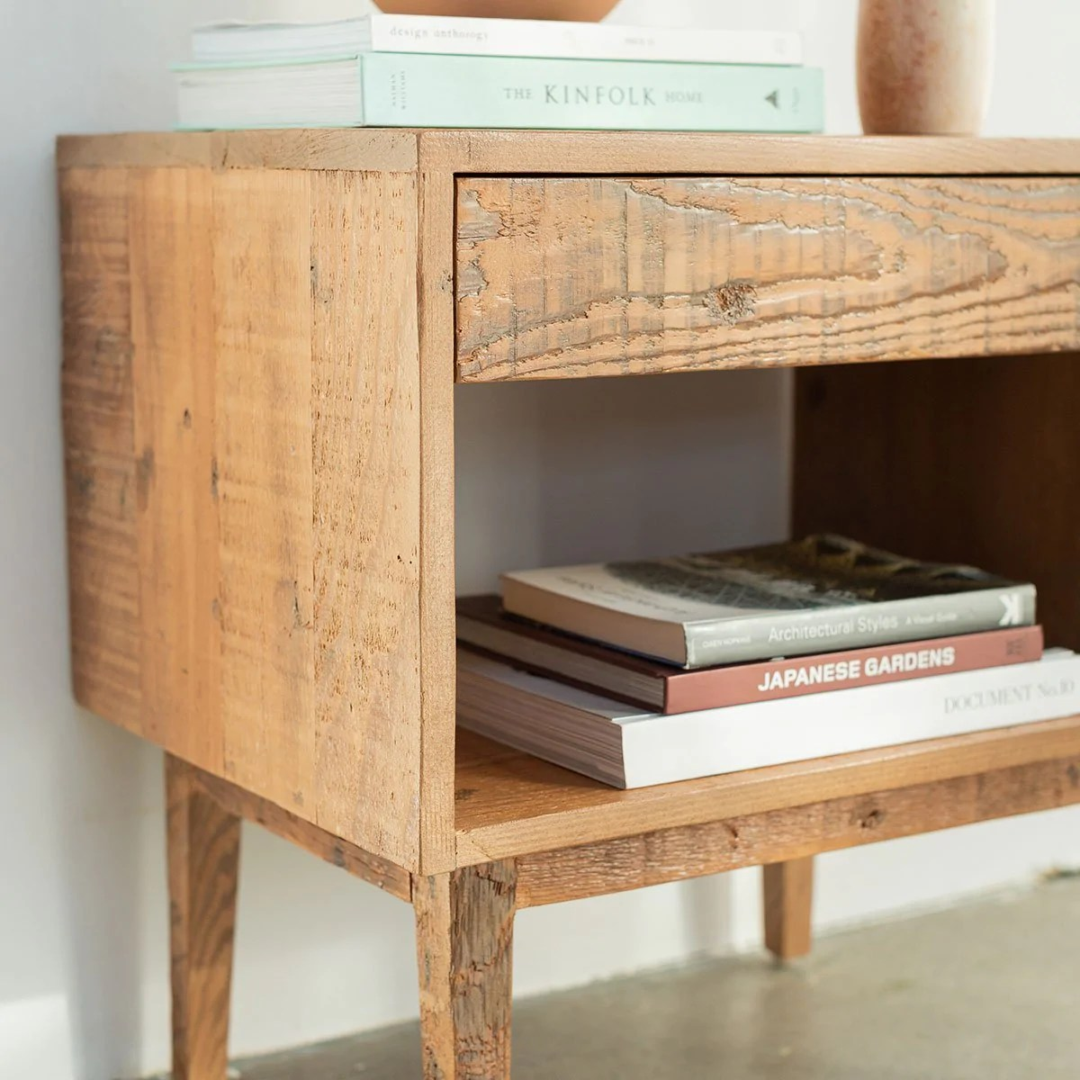 natural wood end table