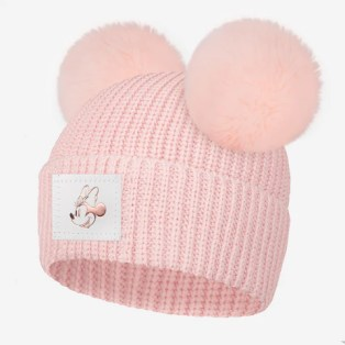 Pre-Order Blush Minnie Mouse Rose Gold Foil Lightweight Double Pom Beanie