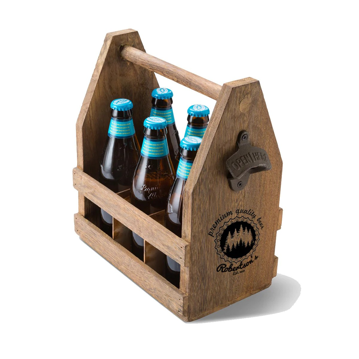Beer Caddy With Bottle Opener Personalized