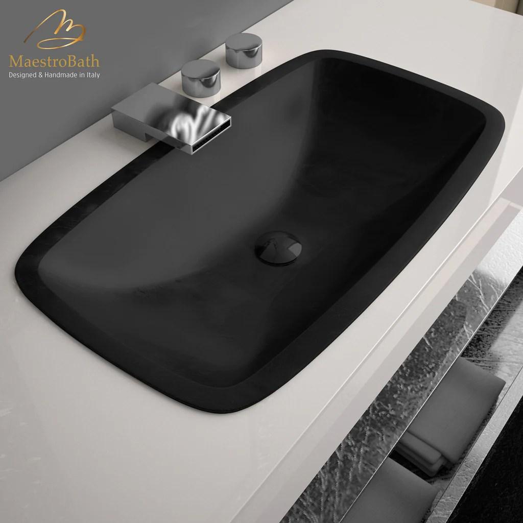 pert open rectangular drop in bathroom sink black