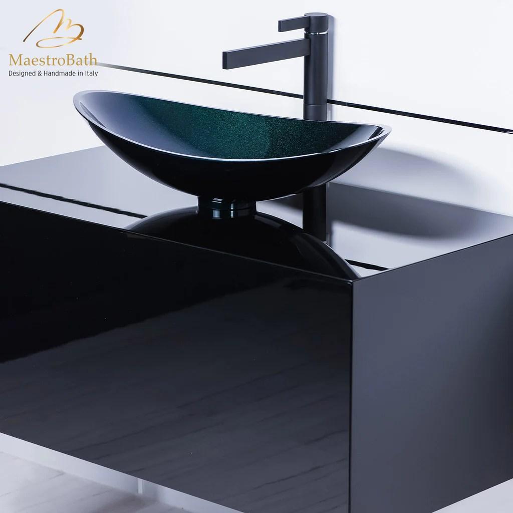 modern matte black bathroom faucet and black vessel sink combo