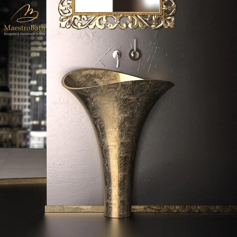 calla lily pedestal sink gold leaf