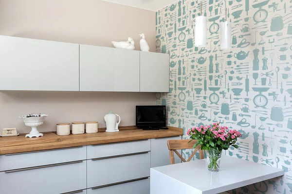 Airfix Kitchen Wallpaper In Duck Egg The Pattern Collective