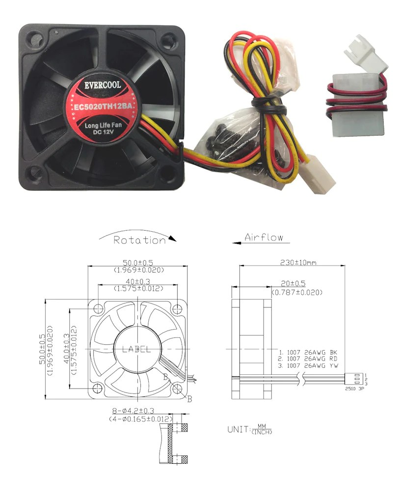 evercool high speed 50x50x20mm 12v 3 pin with connector fan ec5020th12 coolerguys [ 815 x 982 Pixel ]