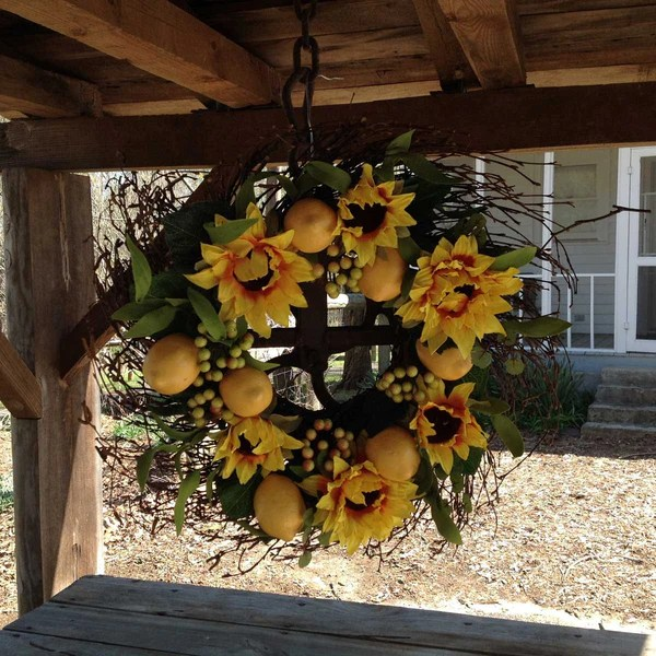 Lemon Sunflower Wreath 20  Flora Decor