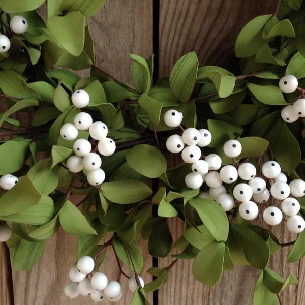 White Berry with Green Foliage Wreath  22  Flora Decor