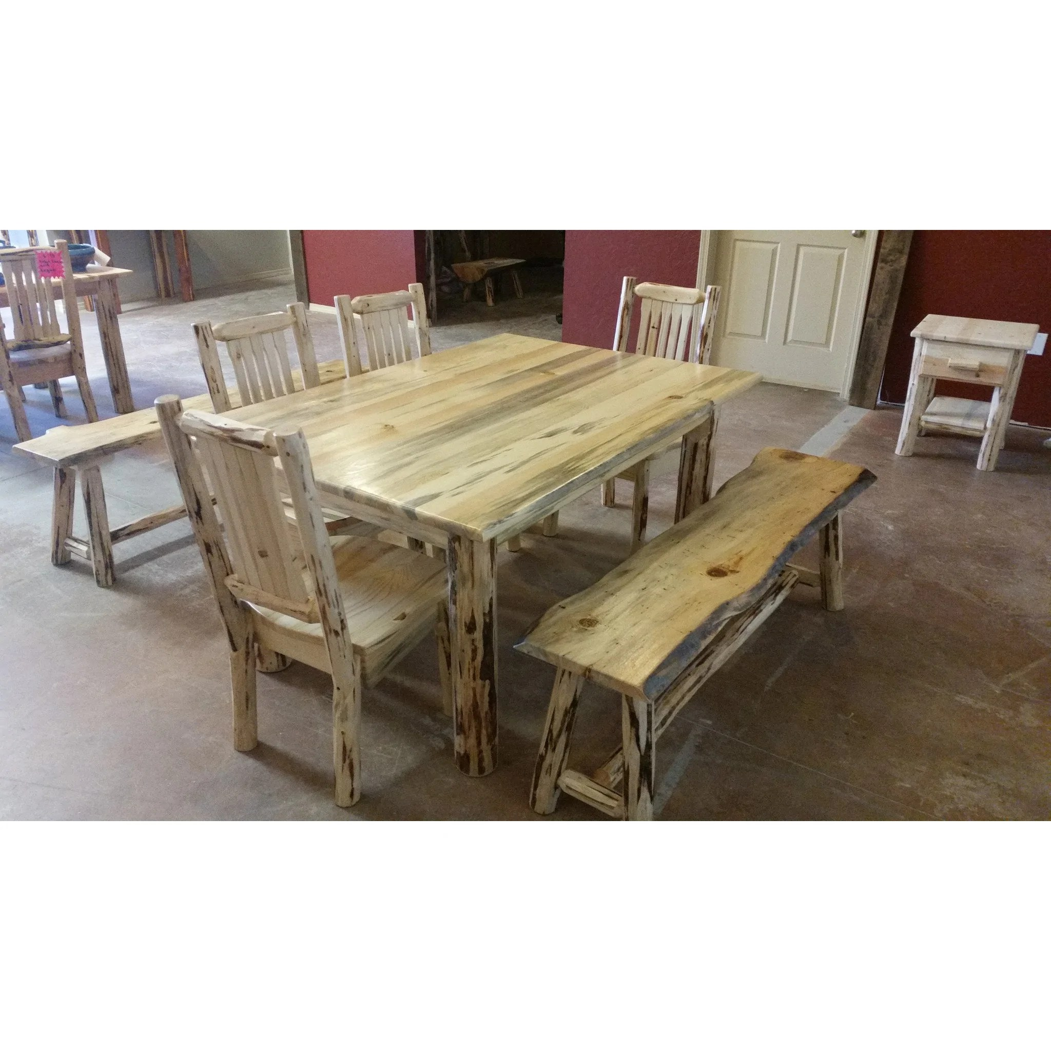 Log Table And Chairs Montana Pioneer Rustic Log Dining Bench Great Northern