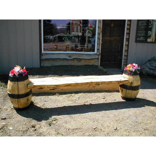 Chainsaw Carved Half Log Barrel Bench Great Northern