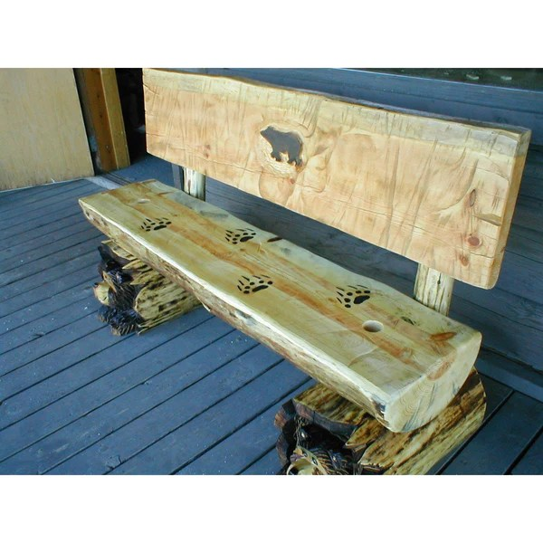 Chainsaw Carved Rustic Half Log Bear Bench W Back Great