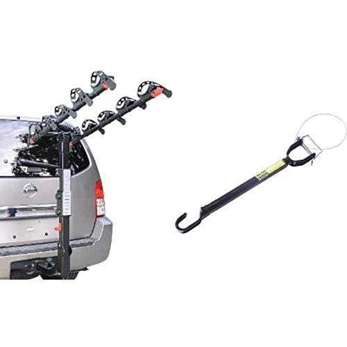 allen sports premier hitch mounted 5 bike carrier and allen sports tension bar bicycle cross bar adaptor bundle