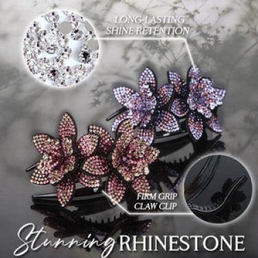 Rhinestone Flower Claw Clip