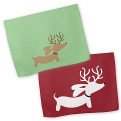 Kitchen Dish Towels Undermount Sink Installation Weendeer Wiener Dog Christmas Towel Dachshund Gift The Smoothe Store