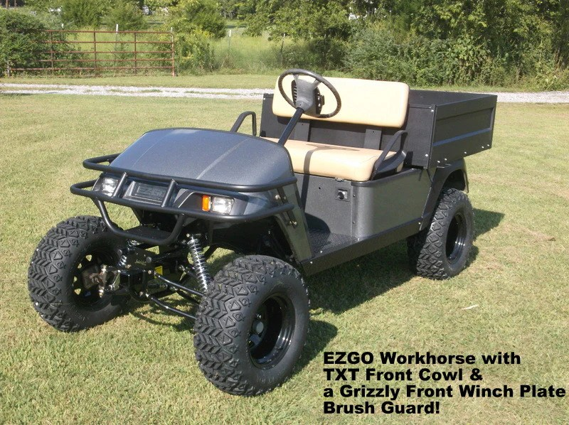 warn winch bolt pattern 1999 chevy tahoe radio wiring diagram ezgo front brush guard | hunting golf carts grizzly metalworks – ...
