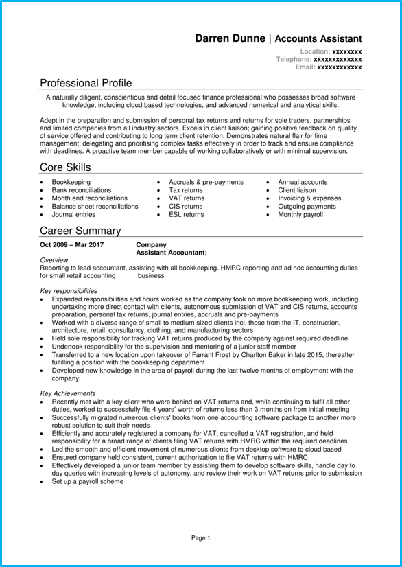 Accounts Assistant CV Example Writing Guide Get Hired