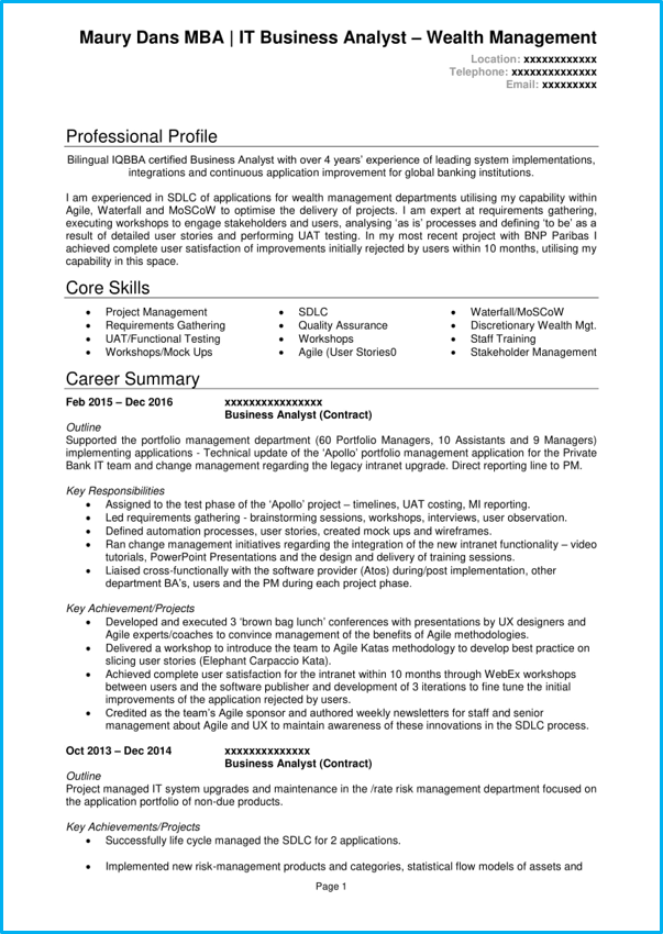 Business Analyst CV Example Writing Guide Land A Top BA