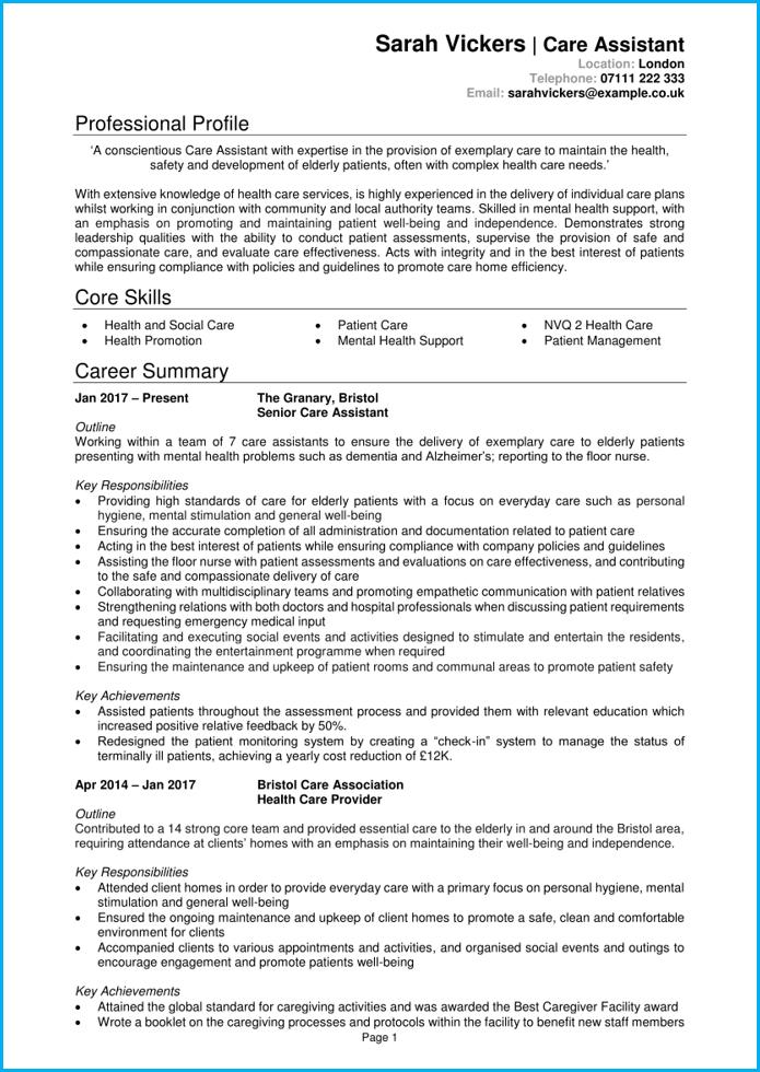 nurse assistant cv template