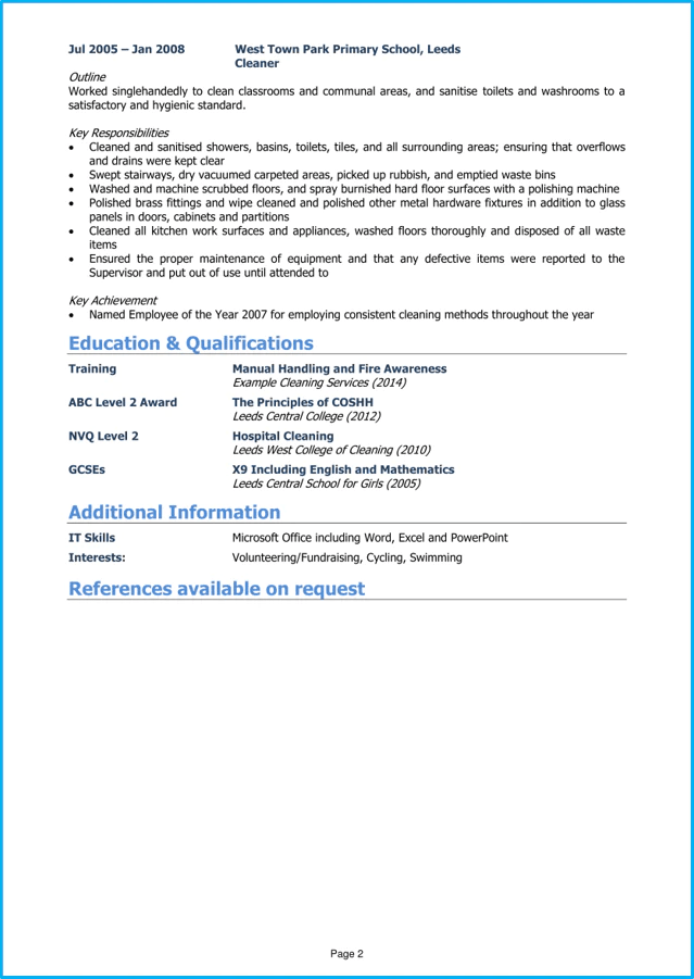 Cleaner CV Example And Writing Guide