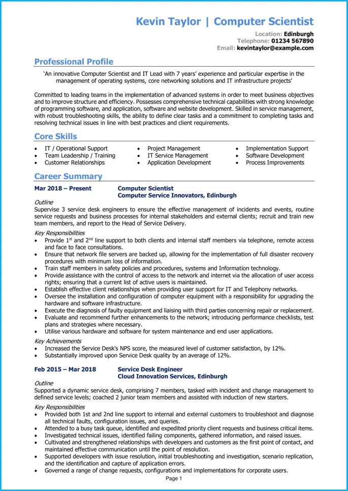 Students freshers looking for fresher resume builder here. Computer Science Cv Example Step By Step Writing Guide Get Hired