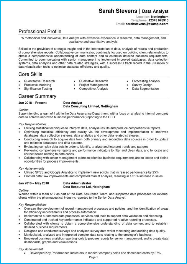 professional financial resume