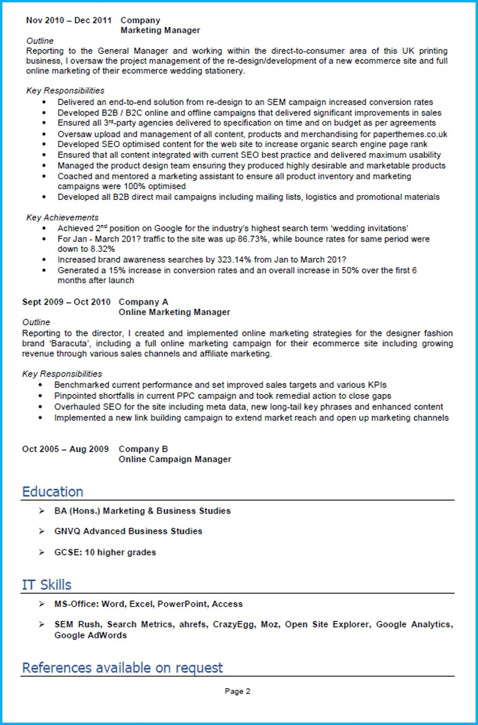 Sample Key Skills For Resume Digital Marketing Cv Example With Writing Guide And Cv Template