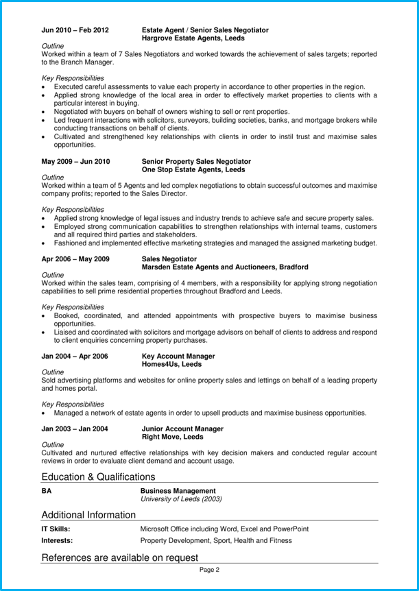 Estate Agent Cv Example Writing Guide Get That Job