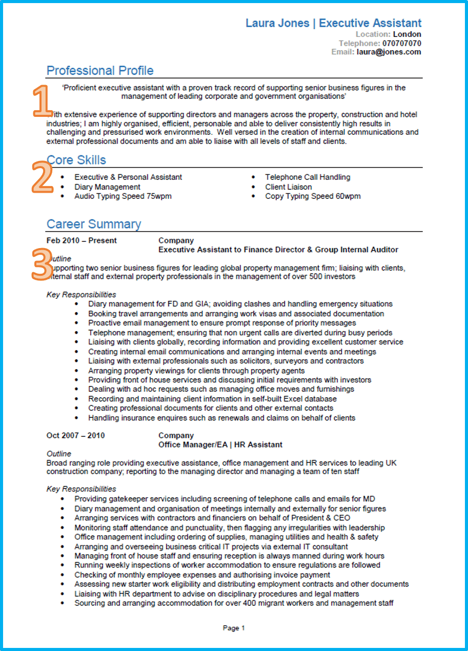 How To Write A Excellent Resume Example Of A Good Cv