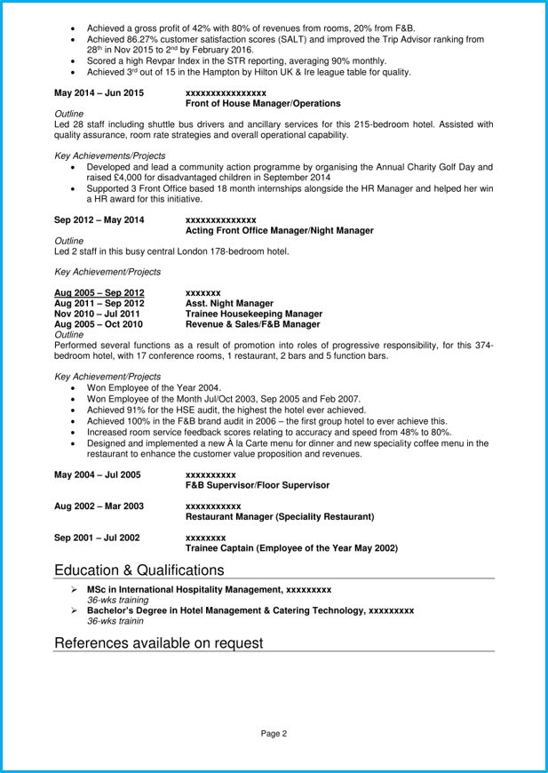 general manager example resume