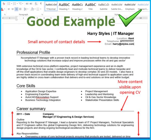 resume formatting tips word