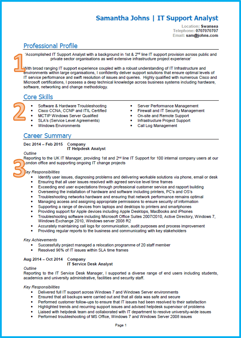 good cv examples for first job word