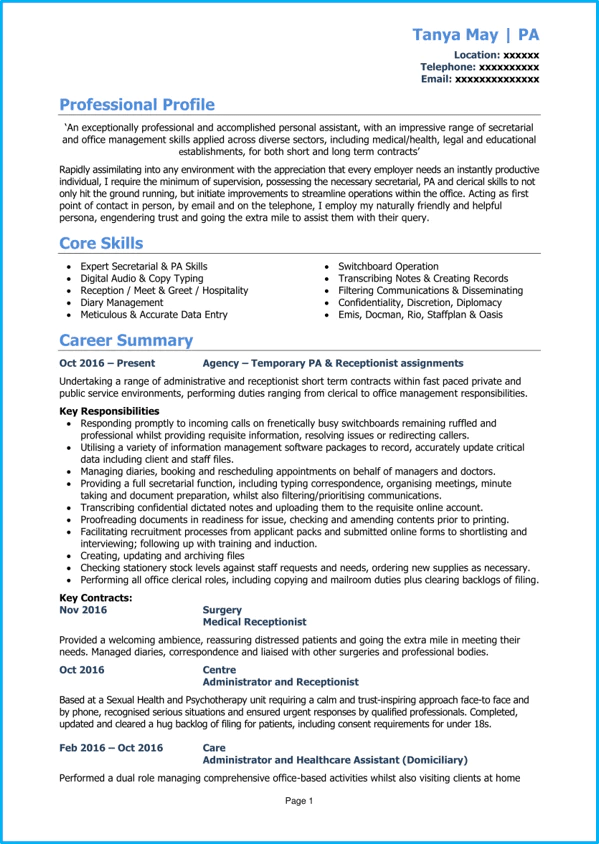 skills for admin assistant
