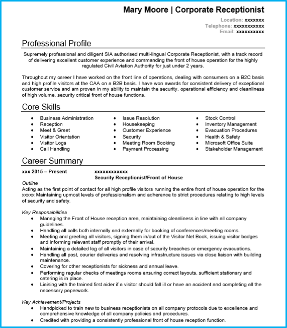 Receptionist CV Example With Writing Guide And CV Template