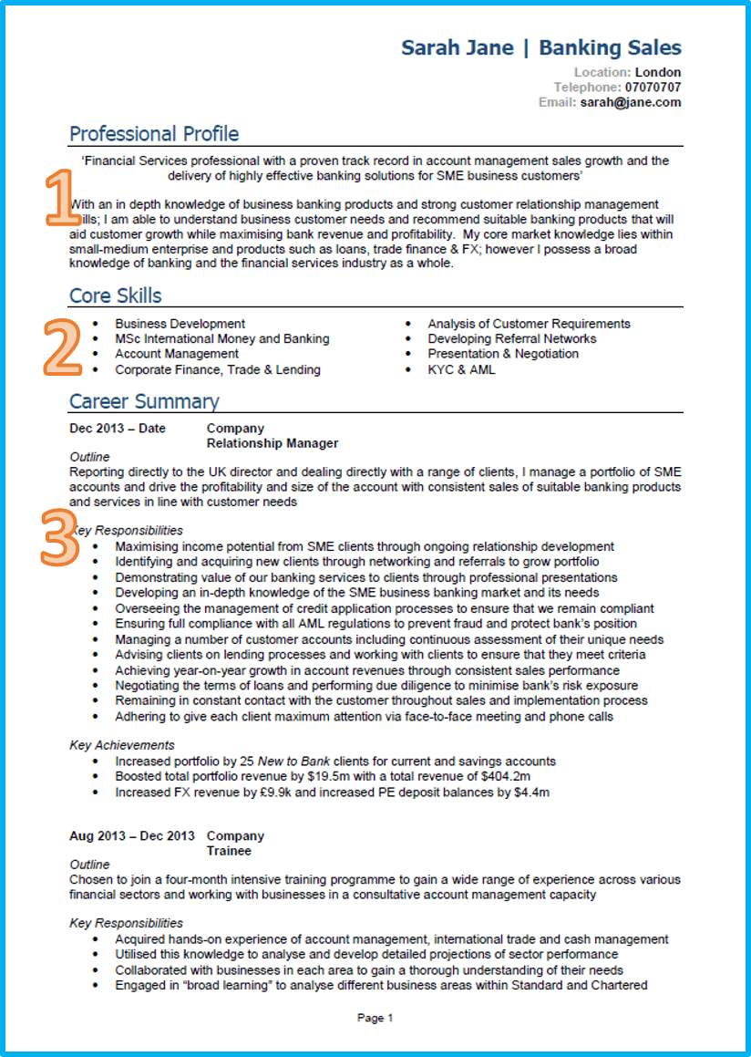 An Example Of A Resume Example Of A Good Cv