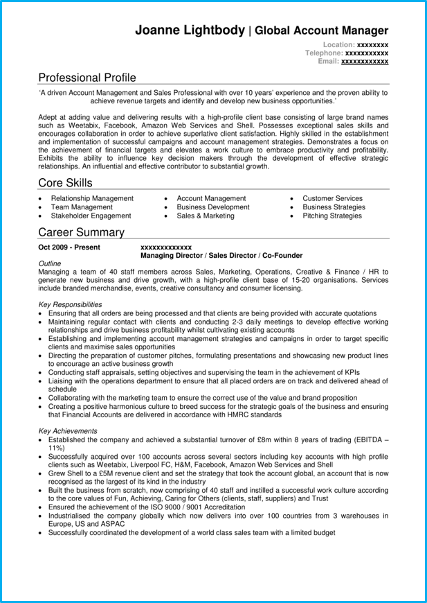 cv for management