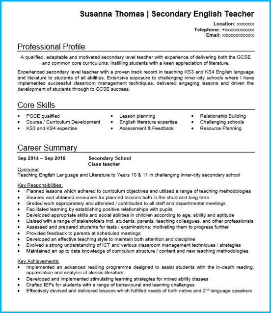 Teacher CV examples +Writing guide and CV template