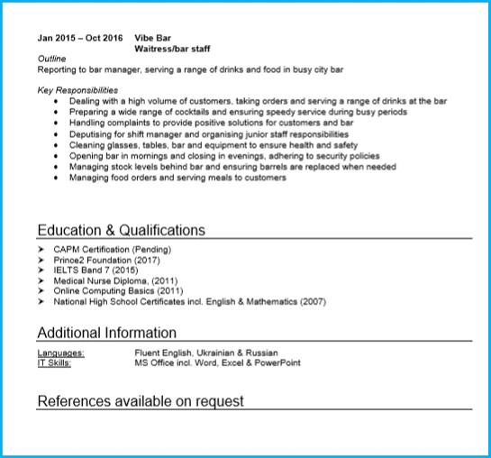 Waiter Resume Example Twnctry