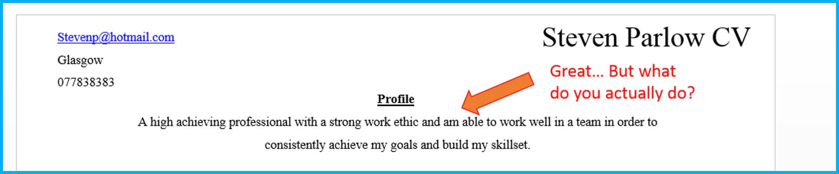 CV cliché example