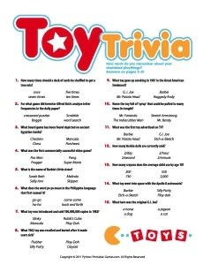Toy Trivia Game Printable Games